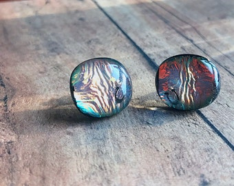 Earrings, Surgical Steel Post, Pink Dichroic and Fused Glass with Horse Shoe Accents, Gift for Her, Holidays, Birthday Present, Equestrian