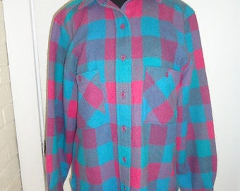 Pink & Turquoise Wool Plaid Vintage 1980's Women's WOOLRICH Shirt M L