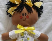 LillieGiggles Brown Baby Rag Doll Collection Twinkle Twinkle Little Star Sue cloth doll stands 12""