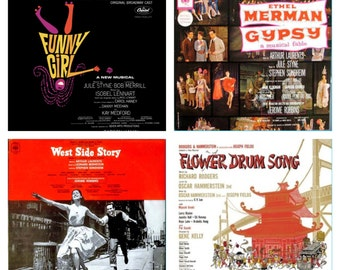 Classic Broadway Soundtrack Lot- Funny Girl, West Side Story, Gypsy, Flower Drum Song