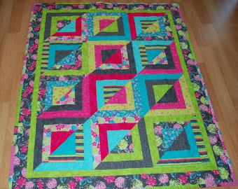 Bright Pink/Teal/Lime/Grey  Lap Quilt