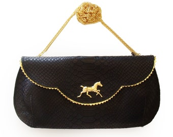 SALE Horse evening bag, black leather purse, crosbody horse purse, women's clutch wallet