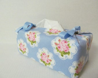 Tissue Box Cover/Rose x Ple Blue Ribbon