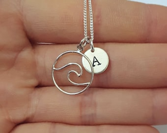 Sterling Silver Wave Necklace, Personalized Jewelry, Initial Necklace, Girl's Gift, Birthday Gift