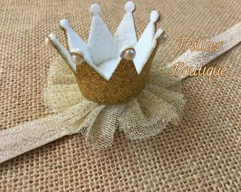 Gold Princess Birthday Crown Headband- Gold Crown Headband- First Birthday- Princess Crown- Birthday Crown Hair Clip