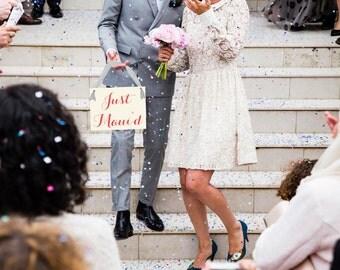 "Just Maui'd Wedding Sign {Play On ""Just Married""} Hawaii Wedding Celebration | Destination Or Honeymoon | Hanging Banner Bride & Groom 1152"