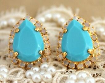 Turquoise Earrings,Swarovski Turquoise Earrings,Pear shape earrings,Gift for her,White turquoise earrings,Swarovski turquoise studs earrings
