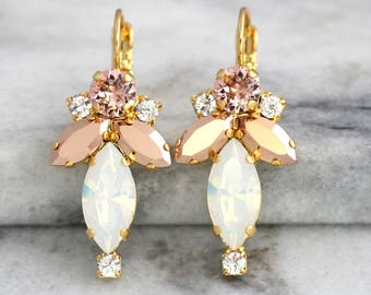 Opal Bridal Earrings, White Opal Earrings, Bridal Blush Drop Earrings, Rose Gold Opal Dangle Earrings, Bridal Blush Earrings, Drop Earrings