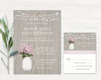 Rustic Wedding Invitations Mason Jar Wedding Invites with Lilac Hydrangeas - Country Wedding Invitations Digital Printable DIY RSVP Card too