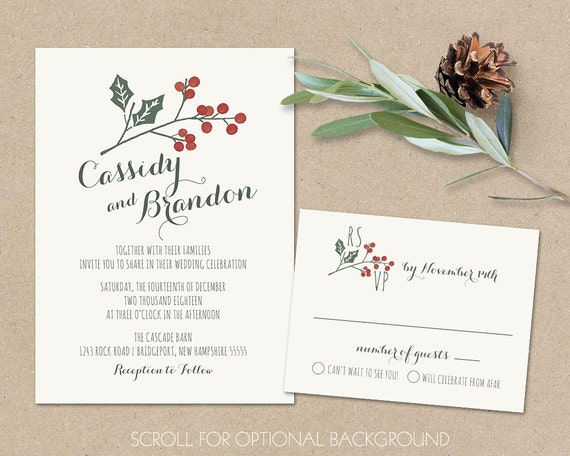 Rustic Wedding Invitation Sets: Rustic Winter Wedding Invitation Set Holly Berries Christmas