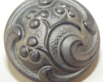 Antique Black Glass Button Floral w/ matte gunmetal painted finish