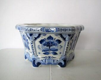 Vintage Delft planter/large size blue & white planter/hand painted Porceleyne Fles/footed six-side planter