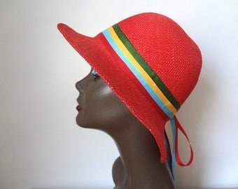 Vintage 1970s Red Straw Hat - chic Saks Fifth Avenue hat