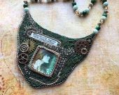 Mixed Media Necklace - Bead Embroidery Necklace - Wearable Art - Steampunk Jewelry - Victorian Boho Bib Necklace - Bead Art Necklace