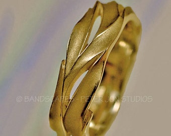 14k WATERFALL WEDDING BAND Handmade in Your Choice of 14k White, Yellow, or Rose gold