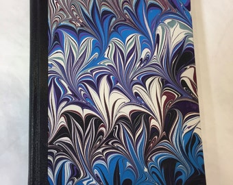 Handmade Sketchbook, Journal with Hand Marbled Paper and Leather Spine
