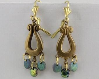 Handmade Antique Style Lyre Tri Drop Earrings Czech Glass Disc Beads  Lever Backs Oscarcrow Original  Design