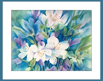 Watercolor of Blue and White Flowers by Colorado Artist Martha Kisling