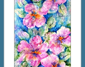 Watercolor Painting on Rice Paper of Large Pink Flowers by Martha Kisling