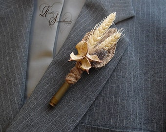 Ships in 5 days ~~~ Rustic Bullet Casing Boutonniere with Wheat, Cotton Pod, Bullet Shell Casing Unpolished, Twine & Burlap