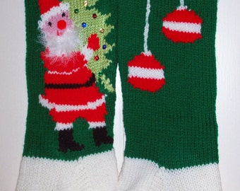 Hand Knit Christmas Stocking Santa Personalized:  Christmas 2017