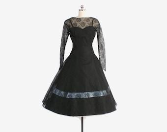 Vintage 50s Party DRESS / 1950s Sheer Black Lace Blue Satin Bow Trim Full Skirt Dress S