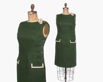 Vintage 60s TEAL TRAINA DRESS / 1960s Forest Green Linen Bow Trim Sheath Wiggle Dress M
