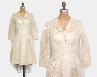 Vintage 60s Brocade DRESS / 1960s Pauline Trigere Long Sleeve Mod Wedding Dress M