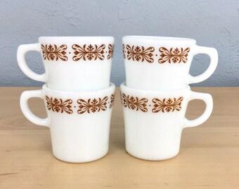 Vintage Pyrex Copper Filigree Tableware by Corning Mugs, Pyrex Milk Glass Coffee Mugs
