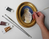 Mourning Dove framed painting - dove bird portrait - oval bird cameo painting - realistic art - wild dove - renaissance - gold frame - blue