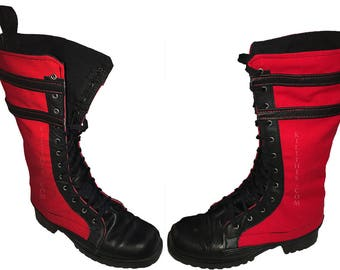 Red and Black Canvas Boot Covers