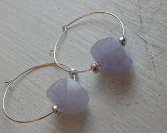 Lavender Jade and Sterling Silver Beaded Hoops with Sterling Silver Hoops, Hoop Earrings, Purple Jade, Hoop Earrings, OOAK
