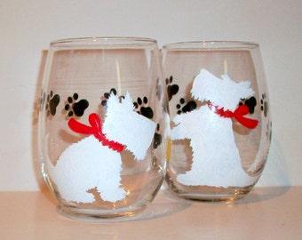 White Scottish Terrier Dog Silhouette Hand Painted Wine Glasses Set of 2 - 21 oz. Stemless Wine Glasses Glassware Scottie, Westie, Scotties