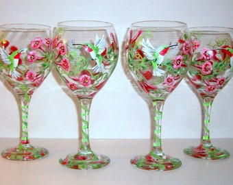 Hummingbirds and Trumpet Vine Hand Painted Wine Glasses Flowers Red Green Mothers Day Gift Maid of Honor Sister Friend Mother of the Bride