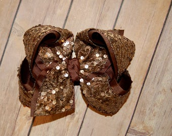 SSD Bronze Sequin Hair Bow