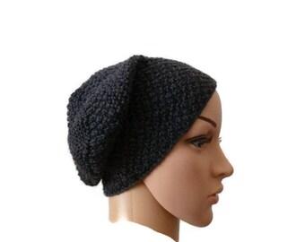 Knit Slouchy Beanie, Winter Knit Beanie, Wool Hat, Womens Slouchy Hat, Grey Slouchy Beanie