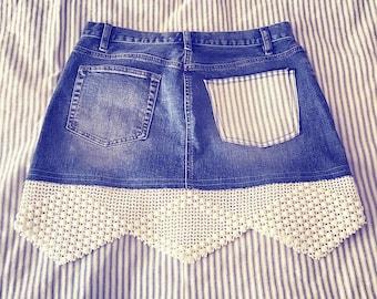 blue jean cut-off skirt, labels removed, cotton blue-and-cream striped ticking back patch pocket, vintage cream crochet border hem