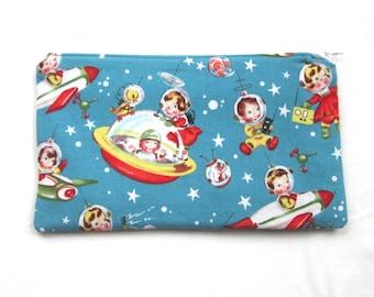 Retro Rocket Kids Fabric Zipper Pouch / Pencil Case / Make Up Bag / Gadget Sack