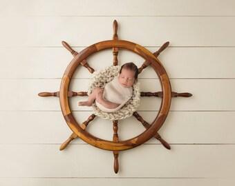 "Digital Backdrop- ""Asleep at the Helm""- Newborn Prop - Nautical"
