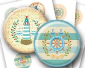 50% OFF SALE Sea Adventures  2.5 inch nautical rounds printable images. Digital Collage Sheet for pocket mirrors, badges. Anchor, lighthouse