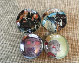 Starlord Rocket Raccoon Comic Magnet Set, Guardians of the Galaxy Magnets, Glass Bubble Magnets