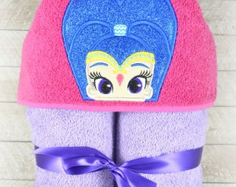 Blue Genie Girl Inspired Hooded Towel for Children, Made to Order, Custom Made, For Boys and Girls, Towel Colors can be Changed