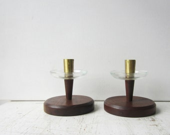 Pair Vintage Mid Century Modern Candlestick Holdes - Wood /  Brass / Glass  - Modern Home Decor