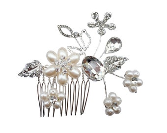 Unik Occasions Pearl Crystal Flower Hair Comb - Style 40