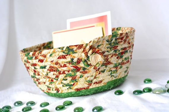 Christmas Card Holder, Homemade Christmas Gift Basket, Holiday Mail Holder Bowl, Handmade Artisan Coiled Basket, Quilted Fiber Art