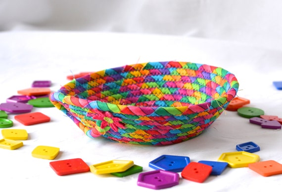 Rainbow Ring Bowl, Fun Basket, Handmade Funky Bowl, Gift Basket, Desk Home Office Decoration,  Trinket Bowl, Change Basket