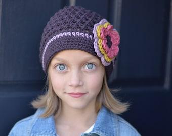 Brown Crochet Hat, Crochet Little Girl Hat, Toddler Girl Hat, Crochet Beanie, Crochet Kids Hats, Little Girl Hat, Winter Hat, Hats