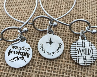 ONE Bracelet ONE Charm Stainless Steel WIRE Cuff Bangle Round Tag Wild Wander Fearlessly Enjoy The Journey Choice of Charms