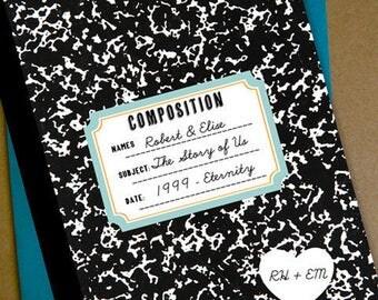 Composition Book Wedding Invitation
