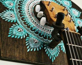 guitar holder, guitar gift, boho home decor, instrument holder, guitar wall hanger